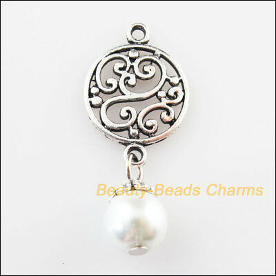 6 New Round Flower Charms White Glass Beads Pendants Tibetan Silver Tone 14x32mm