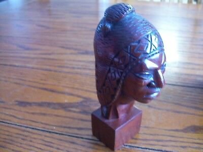 Unknown Red Type Wood Carved Ethnic Head Aztec ? Mayan European