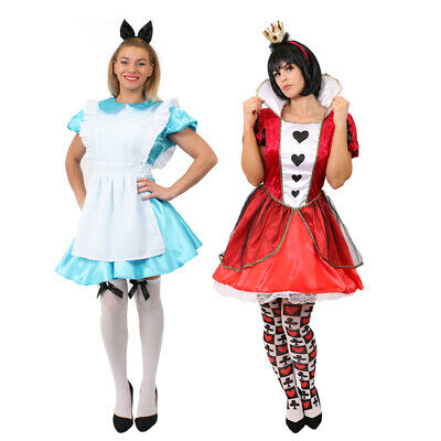 Ladies Alice Dress Costume Queen Of Hearts Fairytale Book Day Movie Fancy Dress