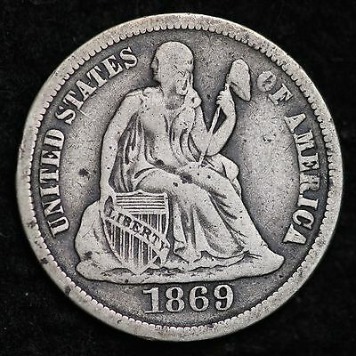 1869-S Seated Liberty Dime CHOICE VF+ FREE SHIPPING E112 CTX