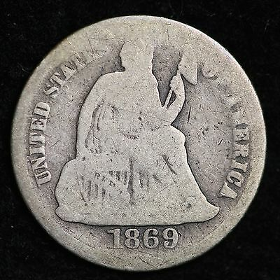 1869-S Seated Liberty Dime CHOICE VG FREE SHIPPING E231 UNM