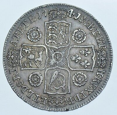 Scarce 1741/39 Halfcrown, 41 Over 39, British Silver Coin From George Ii Gvf