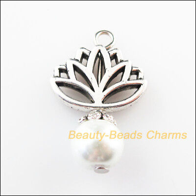 4 New Lotus Flower Charms White Glass Beads Pendants Tibetan Silver Tone 16x24mm