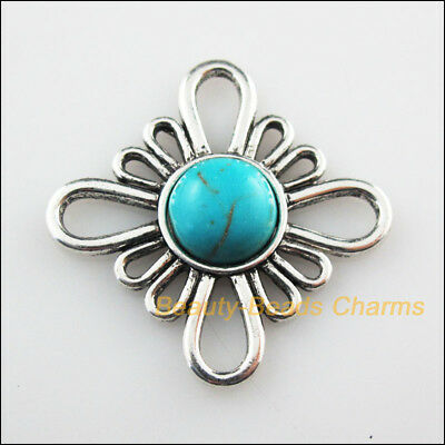 2 New Charms Flower Turquoise Tibetan Silver Tone Connectors Retro 31mm