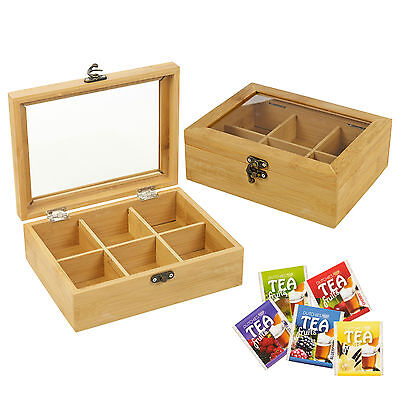 Wooden Bamboo Tea Box 6 Section Clear Lid Compartments Container Bag Caddy Chest
