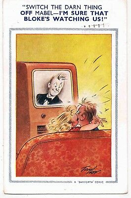 2 x CPCs - TELEVISION RELATED COMIC PCs - SWITCH THE DARN THING OFF MABEL...1955