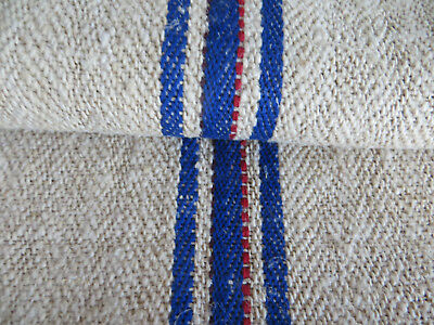 """Unused Grainsack Feed Sack  Handwoven  Linen  Blue Red Stripes Upholstery 53"""" Lo"""