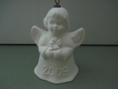 2009 Goebel ANGEL BELL ORNAMENT White Bisque with Clover