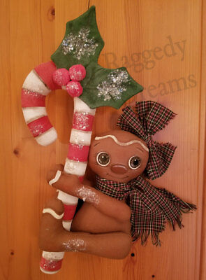 Handmade Large Primitive Gingerbread Girl - Candy Cane - Christmas Ornament #3