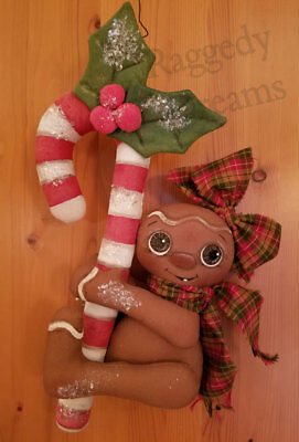 Handmade Large Primitive Gingerbread Girl - Candy Cane - Christmas Ornament #4