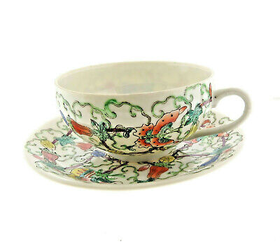 Antique Chinese Porcelain Teacup Saucer Butterfly Pattern Husky Xmas 1975