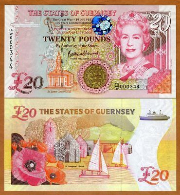 Guernsey, 20 pounds, 2018 P-New, QEII, UNC > Commemorative, WWI, Low S/Ns