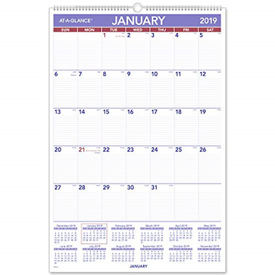 """AT-A-GLANCE 2019 Monthly Wall Calendar, 20"""" x 30"""", XLarge, Wirebound PM428"""