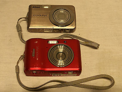 Lot of 2 Digital Cameras for Parts Repair Both Nikon Coolpix L18 & S210 Power On