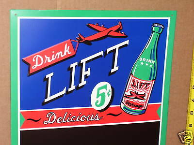 Lift 5c Beverages --- MENU Chalk BOARD --- Shows Old AIRPLANE & Old GLASS BOTTLE