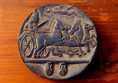 Very Rare Ancient Carving On A Lapis Lazuli Stone Slab Of Roman Horse Race