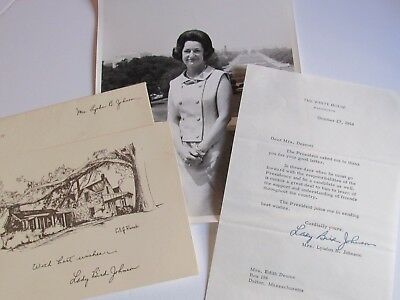Rare First Lady Lady Bird Johnson Letter, Christmas Card & Photo Lot