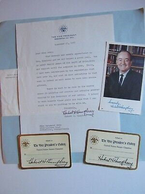 Nice Lot for Vice President Hubert Humphrey with Letter, Photo, Senate Passes