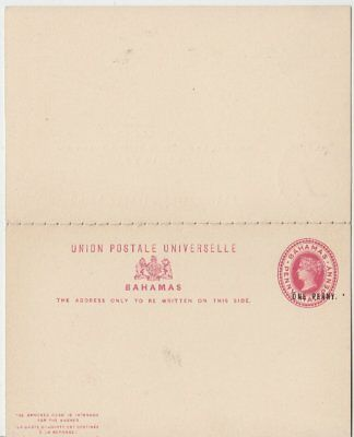 Bahamas - 1 1/2 P. Victoria stationery reply card overprinted unused