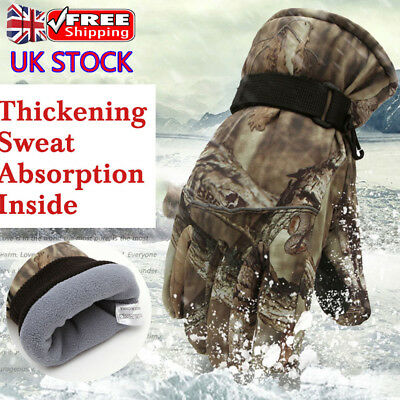 Mens Womens Camo Waterproof Winter Thermal Gloves Outdoor Cycling Motorcycle UK