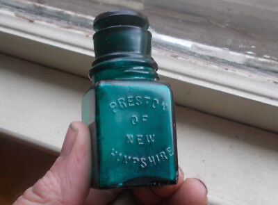 Pretty Teal Blue Preston Of New Hampshire Cologne Salts Bottle & Stopper