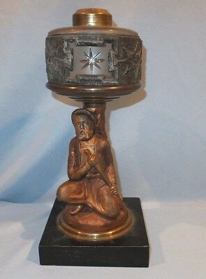 scarce 1850 - 1870 figural soldier cut star Glass oil Lamp