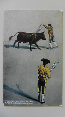 Mexico, Bull Fighting, Placing Banderillas On Foot Posted 1917 Antique Postcard.