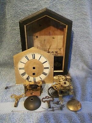 Vintage mantel clock case + mechanism & alarm