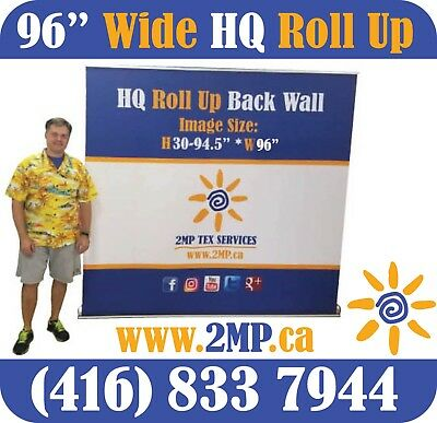 "LUXURY HQ 96"" Trade Show Retractable Roll Up Banner Stand Pop Up Display + PRINT"