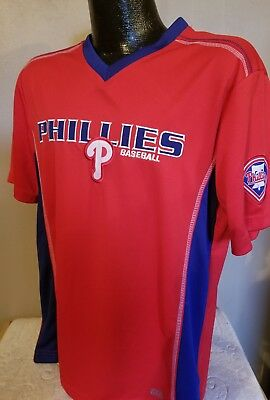 fe6d213fa6e MLB Philadelphia Phillies Baseball Dri Fit II Jersey Shirt Mens Majestic  Nice