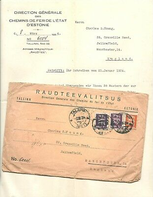ESTONIA 1934 Railway cover and letter to Manchester