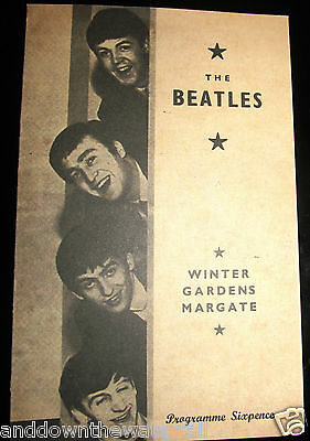 THE BEATLES Concert Programme Vintage Pop Music Rock & Roll Margate Band London