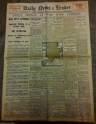 1914 Newspaper OUTBREAK of World War I Vintage Retro Antique II Old Army Navy UK