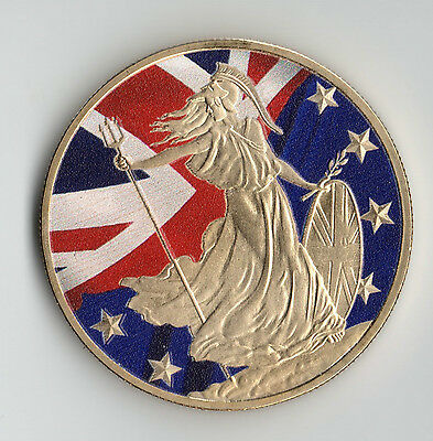 BREXIT Gold Coin Britannia Union Jack European Flag Euro Article 50 Political UK