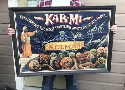 Antique Original National 1914 Karmi Kar Mi Selma Magician Magic Poster 43x31