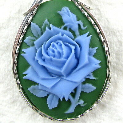 Blue Rose Cameo Pendant .925 Sterling Silver Artisan Jewelry Resin