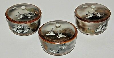 Vintage Kutani Covered Tea Cups 3 Each Showing  Cranes and Mountains in Distance