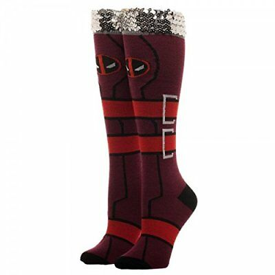 14c83a47eb Authentic MARVEL COMICS Deadpool Suit Up Costume Sequin Cuff High Girl  Socks NEW