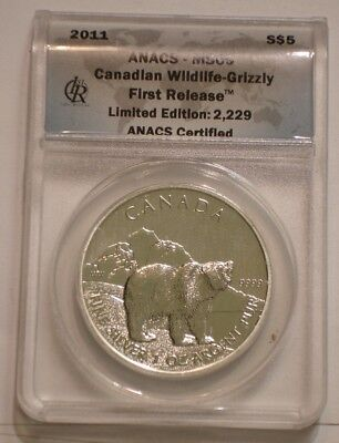 2011 $5 SILVER GRIZZLY BEAR Wildlife of Canada ANACS MS 69 FIRST RELEASE
