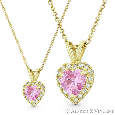 Heart Love Charm Faux Tourmaline Pink CZ Crystal 14k Yellow Gold 12x8mm Pendant