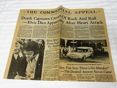 The Commercial Appeal Memphis, Tenn. Wed Aug 17Th, 1977 Newspaper Death Of Elvis