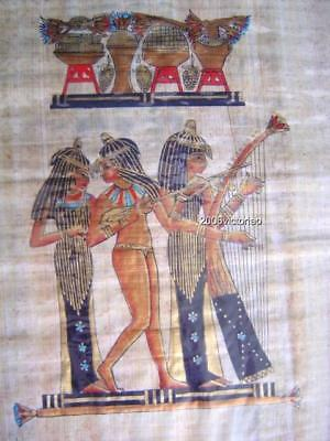 New Egyptian Papyrus Royal Dancers Black Gold Blue