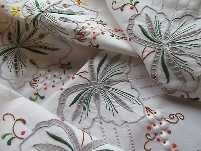 Vintage Hand Embroidered Madeira Style Tablecloth-LOVELY DETAIL THROUGHOUT