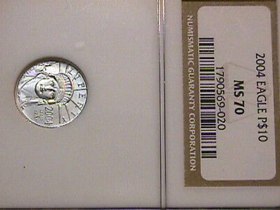 2004 $10 Statue Of Liberty Platinum Eagle  Graded Ms70 By Ngc. Free Shipping