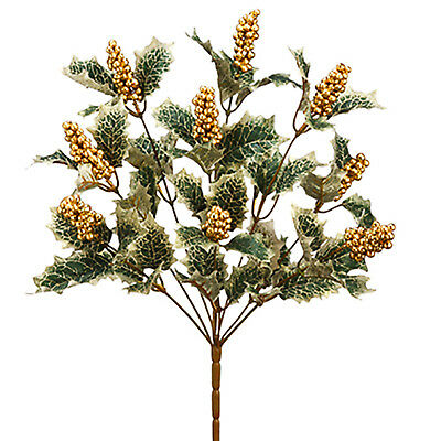 Holly Leaves Gold Berries Silk Flowers Christmas Holiday Decor Artificial Fake