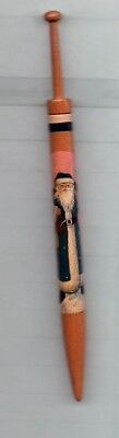 """Honiton Lace Bobbin Painted With """"father Christmas"""" By Janet Retter"""