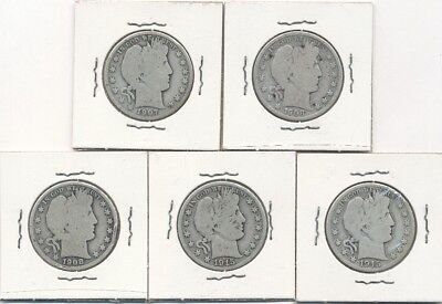 Lot of five (5) Barber Silver Half Dollars 1907-1915 - FREE Shipping