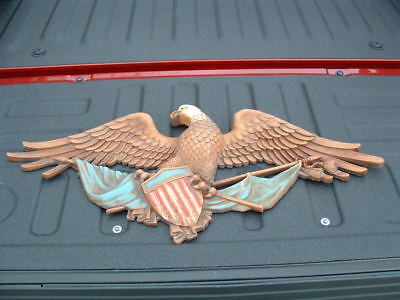 "Huge 29"" Long Syroco Outdoor Indoor Wall Mount Eagle Made In Usa"
