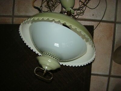 Vintage 1960 Hanging Light Green Saucer Lamp Mid Century Modern Chandelier Retro