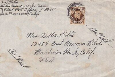 Bahrain #59 on Military cov,USNS Mission Santa Clara Field Post T-Ao-132 to US*d